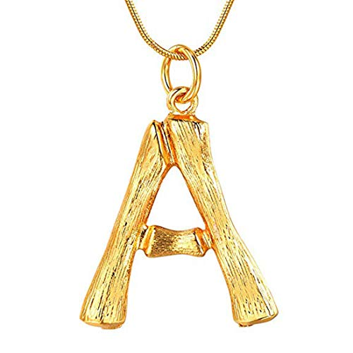 RINHOO Stainless Steel Gold Initial Alphabet 26 Letters Script Name Pendant Chain Necklace from A-Z (A, Bamboo Initial Pendant)