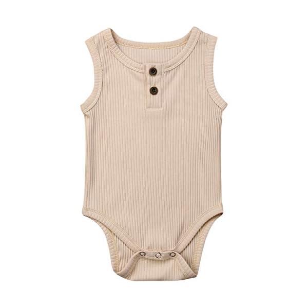 Kuriozud Newborn Infant Unisex Baby Boy Girl Button Solid Romper Bodysuit One Piece...