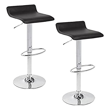 Apontus PU Leather Swivel Hydraulic Bar Stool, Set of 2 Black
