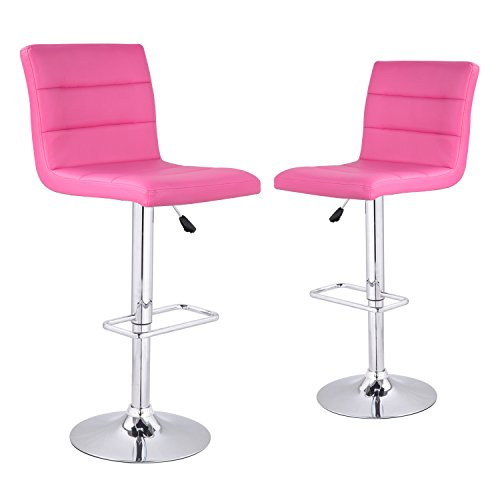 Asense Leatherette Adjustable Swivel Hydraulic and Rotation Bar-Stools with Back Bar Chair (Set of Two)(Pink) (Recliner Chair And Stool Set)