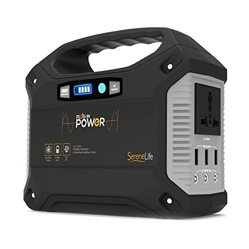(SereneLife Portable Generator, 155Wh Power Station, Quiet Gas Free Power Inverter, CPAP Battery Pack, Charged by Solar Panel/Wall Outlet/Car with 110V AC Outlet,3 DC 12V,3 USB Port)