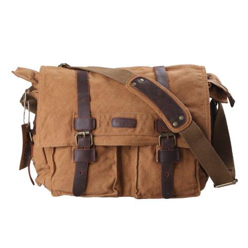 449a4522e4 Kattee Unisex s Classic Military Canvas Shoulder Messenger Bag Leather  Straps Fit 16