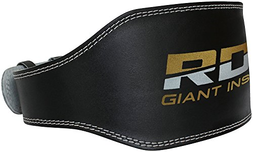 "RDX Weight Lifting Belt 6"" Cow Hide Leather Gym Back Support Double Prong Fitness Exercise Training Crossfit Workout Bodybuilding"