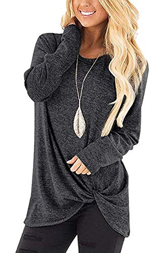 Sieanear Casual Solid Color Women Tops Boatneck Twist Knot Tunics Shirts Dark Gray L