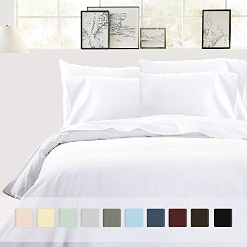 Best Hotel Luxury 3-Piece Pure White Cotton Duvet Cover Set - Full/ Queen Size, 400 TC 100% Long-Staple Combed Cotton Bedding Covers for Kids & Adult Down Comforter, Weighted Blanket & Duvet
