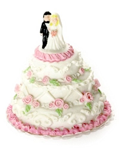 - Falcon Miniatures Dollhouse Miniature Wedding Cake w/Bride and Groom Topper