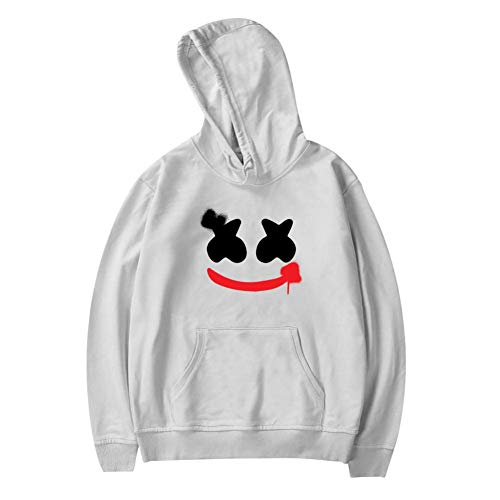 LOGvvl Creative Youth Pocket Hoodies,Marsh-Mell-o Head Face Painting Casual Printed Plush Sweater for Boy Girl L -