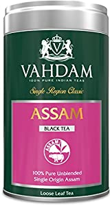 Vahdam, Assam Tea, Tin Caddy,100% Pure, Unblended, Single Origin Assam Black Tea, Loose Leaf Tea - Grown, Packaged & Shipped Direct from Source in India - Perfect Tea Gift Set - 3.53oz (Pack of 1)