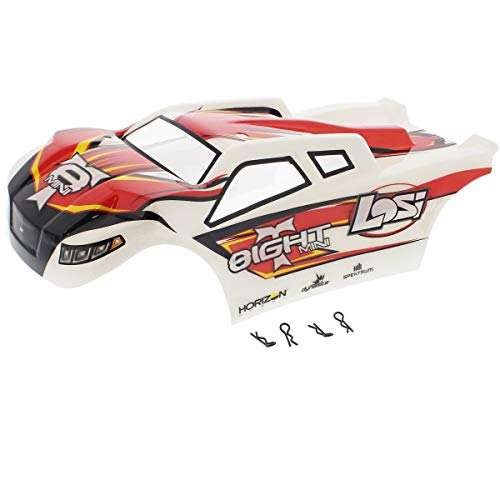 - Losi 1/14 Mini 8ight-T Truggy RED, White & Black Body, Decals & Clips Shell