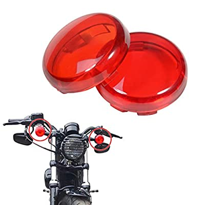 PBYMT Red Bullet Turn Signal Light Lens Cover 2 Inches Caps Compatible for Harley Softail Sportster Touring Street Glide Road King 1997-2020 (2pcs): Automotive