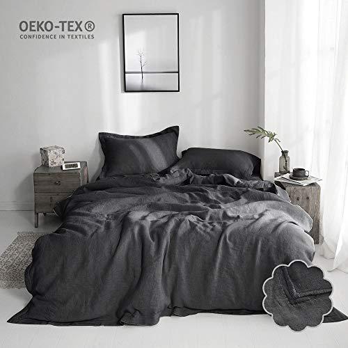 Simple&Opulence 2 Piece Solid 100% Linen Duvet Cover Set (Twin, Dark Grey)