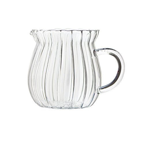 - CHOOLD Creative Embossed Stripe Clear Crystal Glass Creamer Pitcher/Serving Pitcher/Sauce Pitcher/Milk Coffee Creamer Jug for Kitchen(4/5.5/9/12oz)