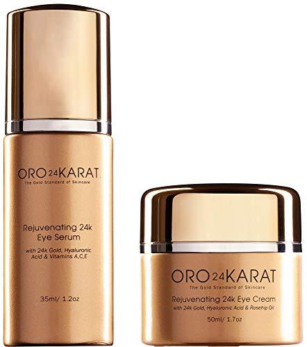 ORO24KARAT Rejuvenating 24k Eye Cream and Serum With 24k Gold, Hyaluronic Acid, Vitamins A,C,E