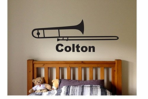 Trombone Name Wall Quote Sign Vinyl Decal Sticker Music Electric Guitar Song Band Drums Lyrics Notes Rock And Roll Large Big