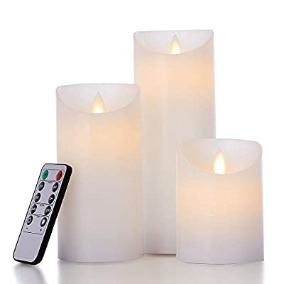 """glowiu Flameless Flickering LED Candles Moving Flame, Battery Candles Set of 3(H 4"""" 6"""" 8"""" x D3) Real Wax Pillar with 10-Key Remote Multi-Function"""