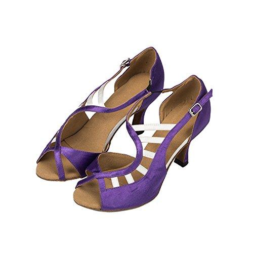 Violet à talons cm pour 3 Minitoo pour Latine Chaussures chaussures en à Soirée Sandales danse Mariage femme Satin gRTxqI