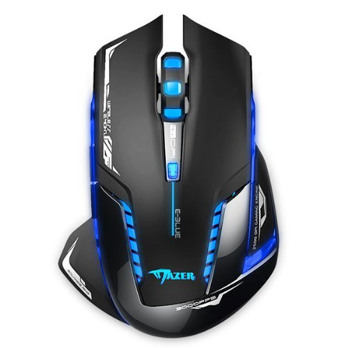E 3LUE E-3LUE Gamer Mice, Wireless Optical Gaming Mouse 2.4GHz Mazer II 2500 DPI Blue LED Backlit For PC MAC Laptops