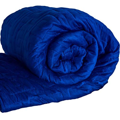 Blue Super-Soft Luxury XL 20lb Weighted Sensory Blanket with Washable Minky Duvet Cover. Queen Size, 60