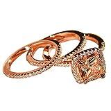 Slendima 3 Pcs Princess Rhinestone Finger Ring Wedding Engagement Bridal Jewelry Gift Rose Gold US 7