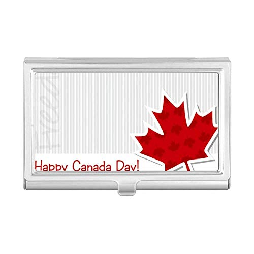 Happy Canada Day Vertical Grain Maple Leaf Business Card Holder Case Wallet