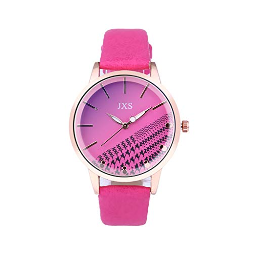 LUXISDE Watch Women Quartz Watch Woman's High-end Blue Glass Life Waterproof Distinguished HotPink