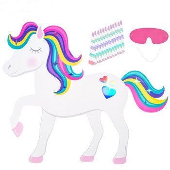Pin the Horn On the Unicorn Game Party (Supply On)