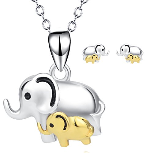 Elephant Jewelry 925 Sterling Silver Good Lucky Elephant Earrings Necklace Set for Women Girls (Elephant Set)