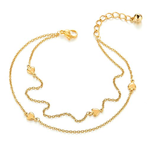 - COOLSTEELANDBEYOND Steel Gold Color Two-Row Link Chain Anklet Bracelet Hearts Jingle Bell Charms, Adjustable