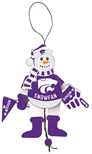 NCAA Kansas State Wildcats Wooden Cheering Snowman Ornament ()