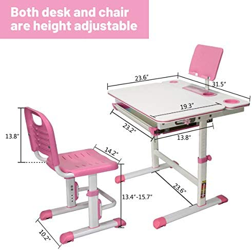 SLSY Kids Study Desk And Chair Set, Height Adjustable Functional Desks For Kid, Desktop Desk Chair Adjustable Children Study Table Homework Desk For School Student, Child, Girls, Boys. (Soft Pink)
