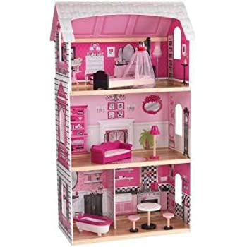 Amazon KidKraft Bonita Rosa Dollhouse 48 Dolls Dollhouse Adorable Make Your Own Barbie Furniture Property