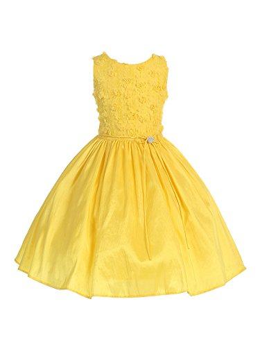 Bello Giovane Floral Bodice Shimmering Taffeta Flower Girl Dress (14, (Yellow Belle Dress)