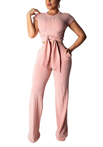 Women's Sexy 2 Piece Outfits Round Neck Crop Top Wide Leg Long Pants Jumpsuits Set