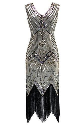 Metme Women's 1920s V Neck Beaded Fringed Gatsby Theme Flapper Dress for Prom Champagne (Platinum Dress)