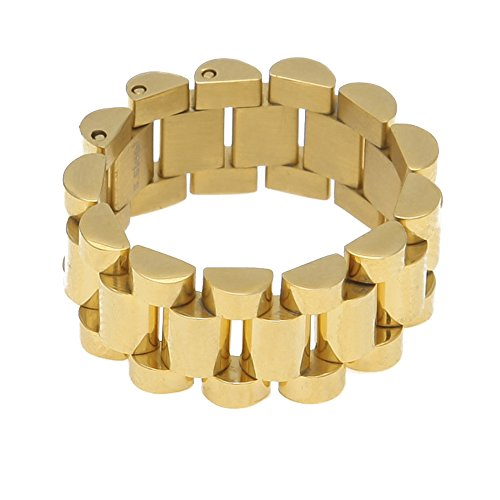 HongBoom Hot Hip Hop Rings 18K Gold Plated CZ Crystal Fully Iced-Out Strap Ring