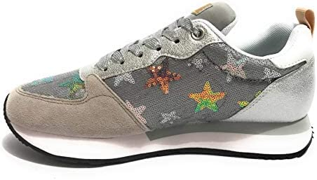 SUN68 Sneakers Running Donna Kelly Star Paillettes in Pelle Argento DS20SU09