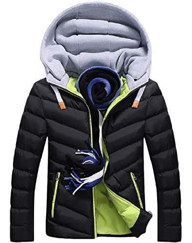 Splicing Outwear Thickened Hoodie Pocket Pattern2 Down Zips Sleeve Men's Warm Energy Long qw5vapx
