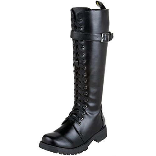 - VOLATILE Combat Women's Faux Leather Knee High Military Boots Black Size 10