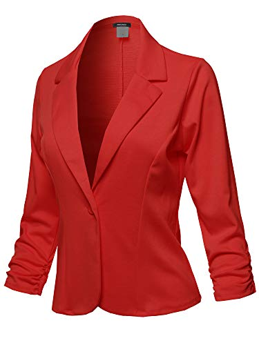 Casual Solid One Button Classic Blazer Jacket - Made in USA Red Size L