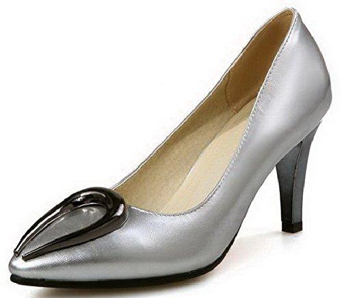 AllhqFashion Damen Blend-Materialien Rein Ziehen auf Spitz Zehe Stiletto Pumps Schuhe Silber