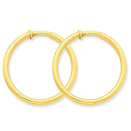 3 mm Non-pierced Clip On Hoop Earrings in Genuine 14k Yellow Gold - 36 mm 14k Yellow Gold Pierced Earrings
