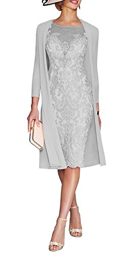 JYDress Women's Lace Mother Of The Groom Dresses Tea Length With Jacket