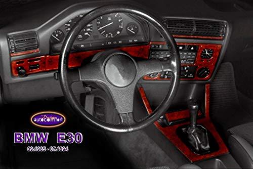 (BMW E30 3 Series Interior Dash Trim Kit 3M 3D 10-Parts Burl Wood 1985-1994 )