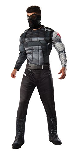 Winter Soldier Costume Accessories (Marvel Men's Captain America: Civil War Deluxe Muscle Chest Winter Soldier Costume, Multi, Standard)