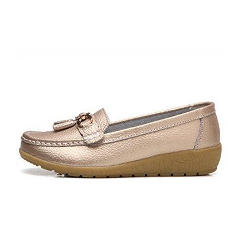 Blivener Femmes Plate-forme Décontractée Chaussures Confort En Cuir Marche Loafer Or