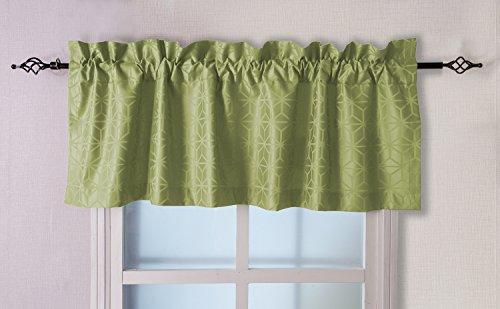 Valea Home 56-inch by 18-inch Jacquard Window Valance Rod Pocket Kitchen Curtain, Green
