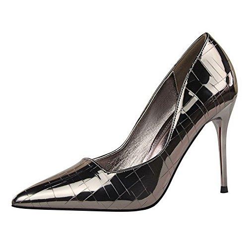 AalarDom Damen Stiletto Rein Ziehen Auf Weiches Material Pumps Schuhe Grau