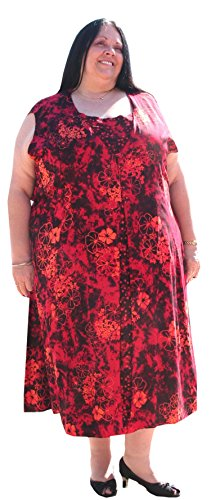 "Plus Size Sleeveless Duster Dress by BBW Boutique (Black/Orange/Red) - Size 3X/4X 60"" Bust"