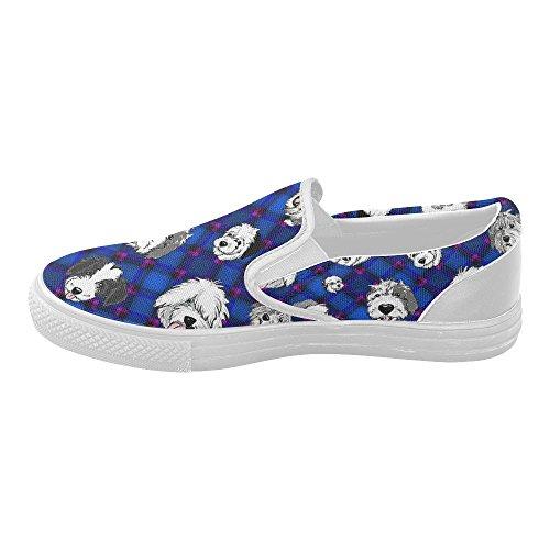 D-histoire Diagonale Bleue Personnalisée, Têtes De Moutons. Femmes Slip-on Chaussures De Toile De Mode Sneaker
