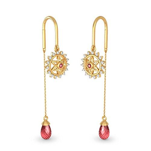 14K Or jaune 0,15CT TW White-diamond (IJ | SI) et rubis et Rhodolite Boucles d'oreilles pendantes